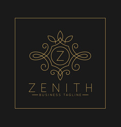 Luxurious letter z logo with classic line art vector
