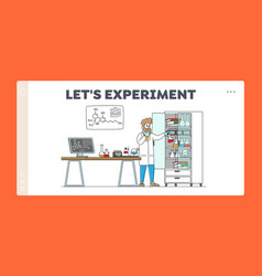Man scientist conduct experiments in science vector