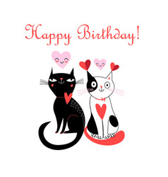 Merry greeting card with cats in love vector