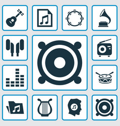 Music icons set collection of file timbrel vector