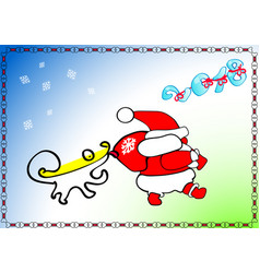 new year christmas santa claus goes wears gifts vector image