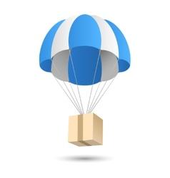 Parachute gift delivery concept emblem vector image