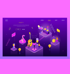 Party in club - modern isometric web vector