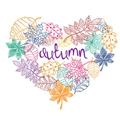 Patterned Autumn Leaves In A Heart Shape vector image