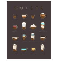 poster coffee flat menu brown vector image