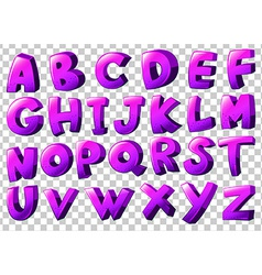 Purple letters of the alphabet vector