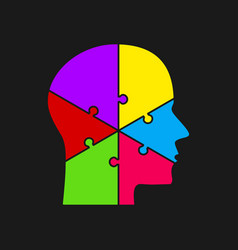 puzzle pieces silhouette brain head six steps vector image