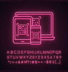 Qr codes on different devices neon light icon vector