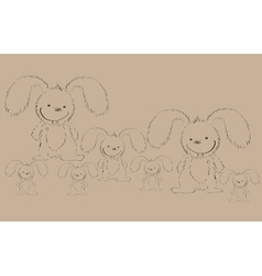 Rabbits on old paper vector