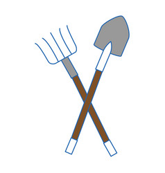 Rake and shovel gardening tools vector