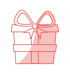 Red shading silhouette of gift box vector