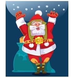 Santa wishes people a Happy New Year and Merry vector image vector image