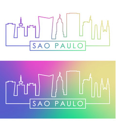 Sao paulo skyline colorful linear style editable vector