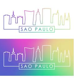 sao paulo skyline colorful linear style editable vector image vector image