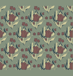 seamless pattern hand drawn tulip flowers vector image