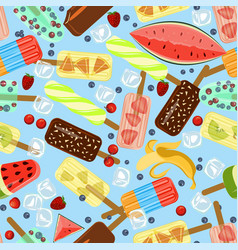 seamless pattern with popsicles vector image