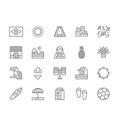 set brazilian culture line icons city favelas vector image