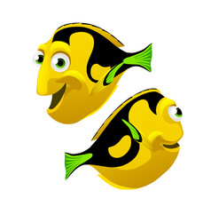 set cartoon fish isolated on white background vector image