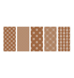 set christmas backgrounds in beige brown colors vector image