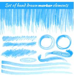 set hand drawn marker elements vector image