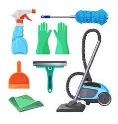 set of cleaning tools rubber gloves brush for vector image