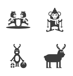 Set of flat icon black and white style animals vector