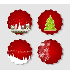 Set of Labels with Christmas BALLS Stars and vector image