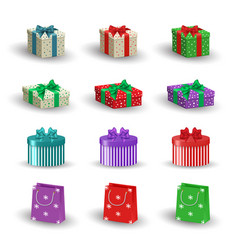 Set of realistic christmas gifts vector