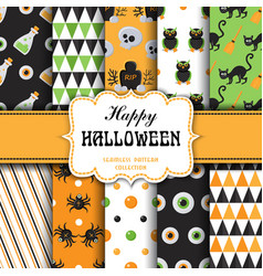 set of seamless pattern with halloween elements vector image