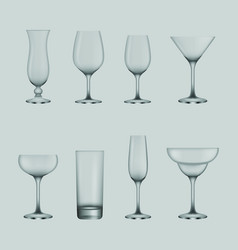 set transparent cocktail and wine glasses vector image