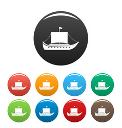 ship ancient icons set color vector image