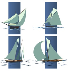 simple group ship with sails vector image