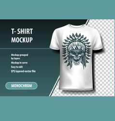 Skul of indian warrior t-shirt template fully vector