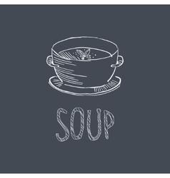 Soup Sketch Style Chalk On Blackboard Menu Item vector