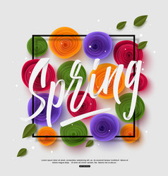 spring background with handwritten calligraphy vector image