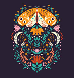 Spring motifs in folk art style colorful vector