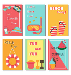 Summer holiday vacation collection poster set vector
