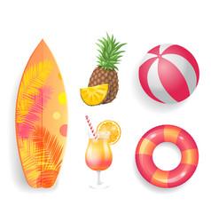 summer season lifebuoy set vector image