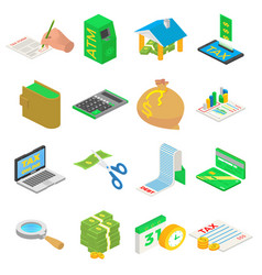 taxes accounting money icons set isometric vector image