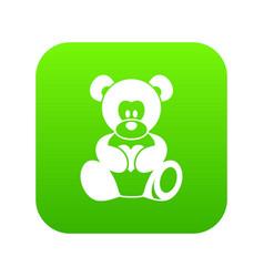 teddy bear holding a heart icon digital green vector image
