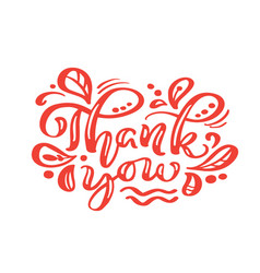 thank you red calligraphy lettering text vector image