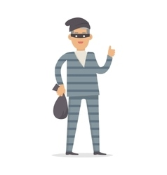 Thief with bag of money in black mask isolated vector