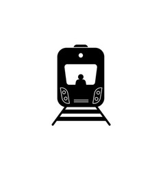 train icon black on white vector image