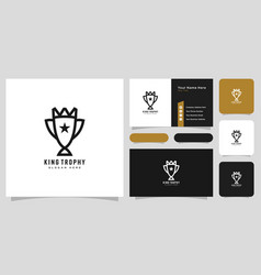 trophy king logo design and business card vector image