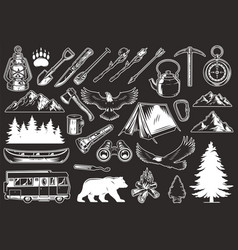 vintage outdoor recreation elements collection vector image