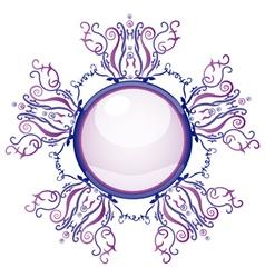 Violet and blue brooch vector