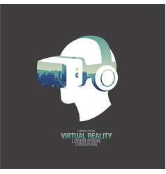 virtual reality headset icon flat icon city vector image