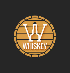 Whiskey barrel logo design on black background vector