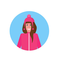 woman face avatar happy girl wearing winter vector image