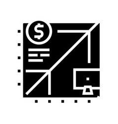 Working time with computer glyph icon vector
